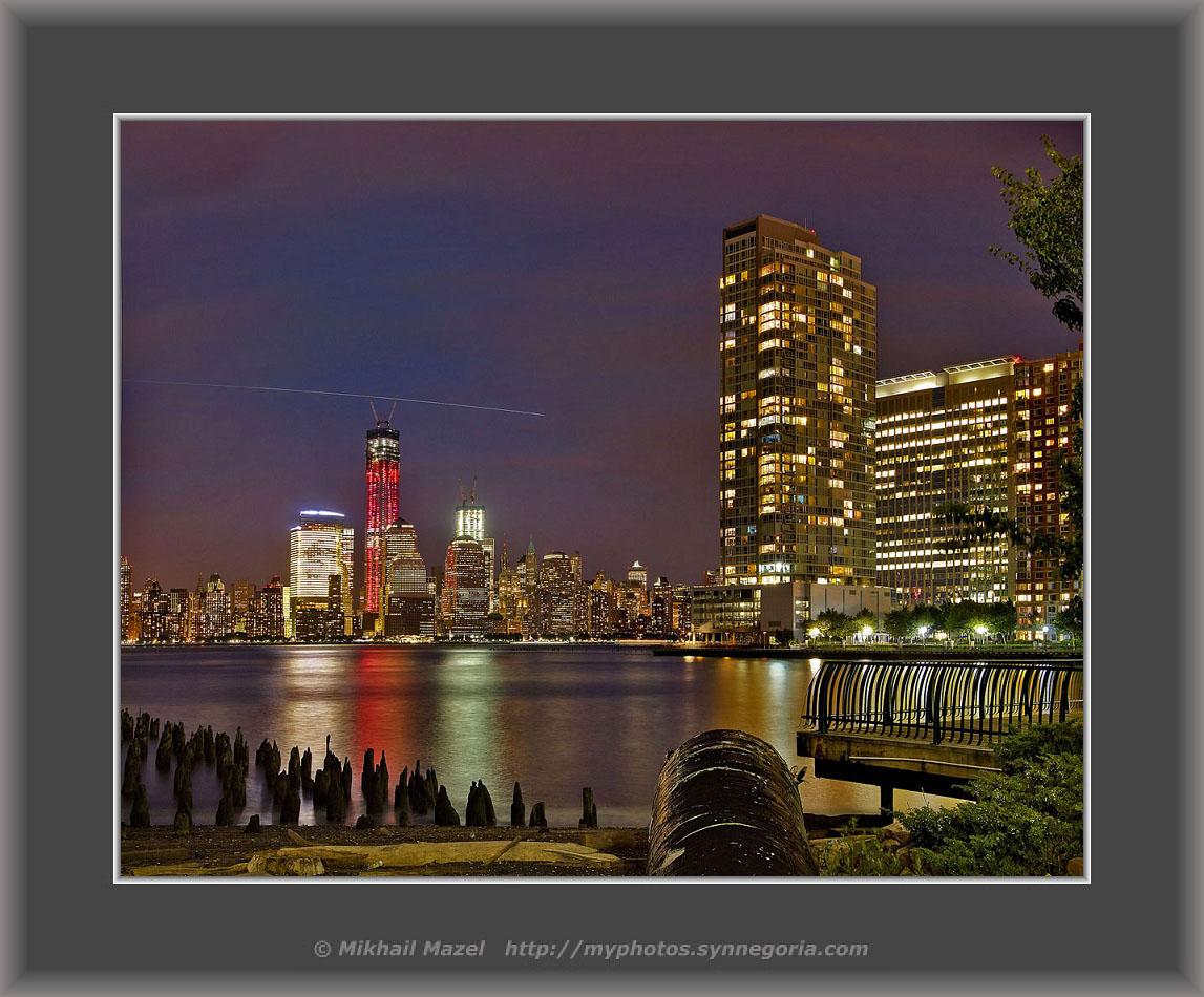 ночной Манхеттен из Джерси Сити